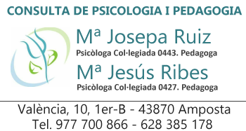 Consulta de psicologia i pedagogia RUIZ-RIBES.  València, 10, 1er-B - 43870 Amposta. Tel. 977 700 866  - 628 385 178