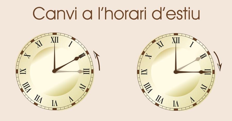 La nit del diumenge, 26 de març, s'adopta l'horari d'estiu i s'avança una hora el rellotge