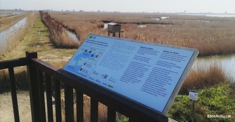 Quatre miradors del Parc Natural del Delta de l'Ebre, més accessibles per a les persones invidents