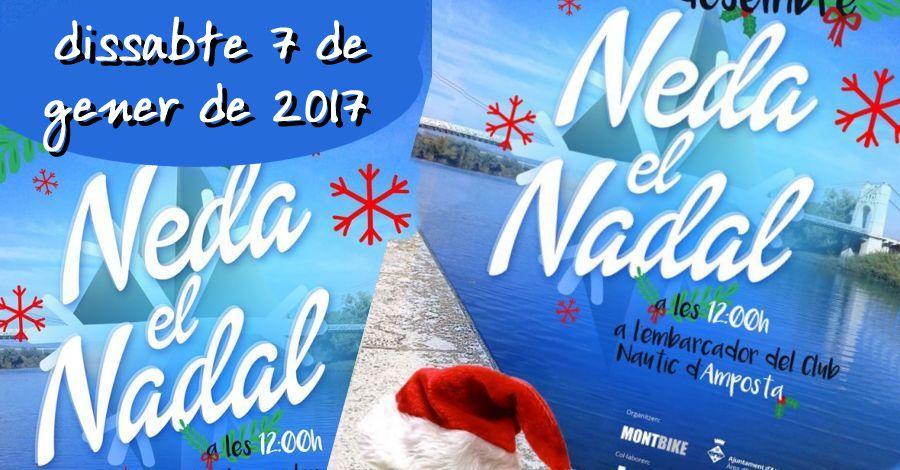Neda el Nadal. Cursa nedant al riu Ebre