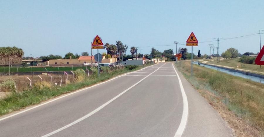 Obres de millora a la carretera TV-3408 que uneix Amposta i Sant Carles de la Ràpita