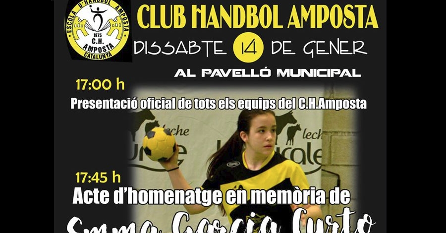 Presentació oficial dels equips del Club Handbol Amposta i homenatge en memòria d'Emma Garcia Curto