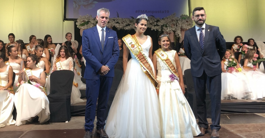 Uma Valldepérez i Anna Bonet, pubilla major i pubilla major infantil de les Festes Majors d'Amposta 2019